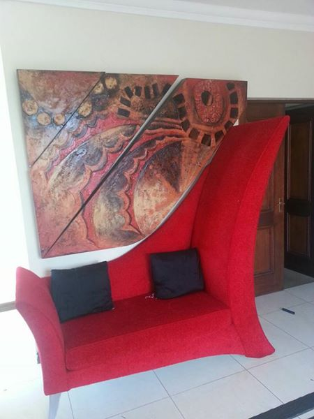 Big red 2 seater couch