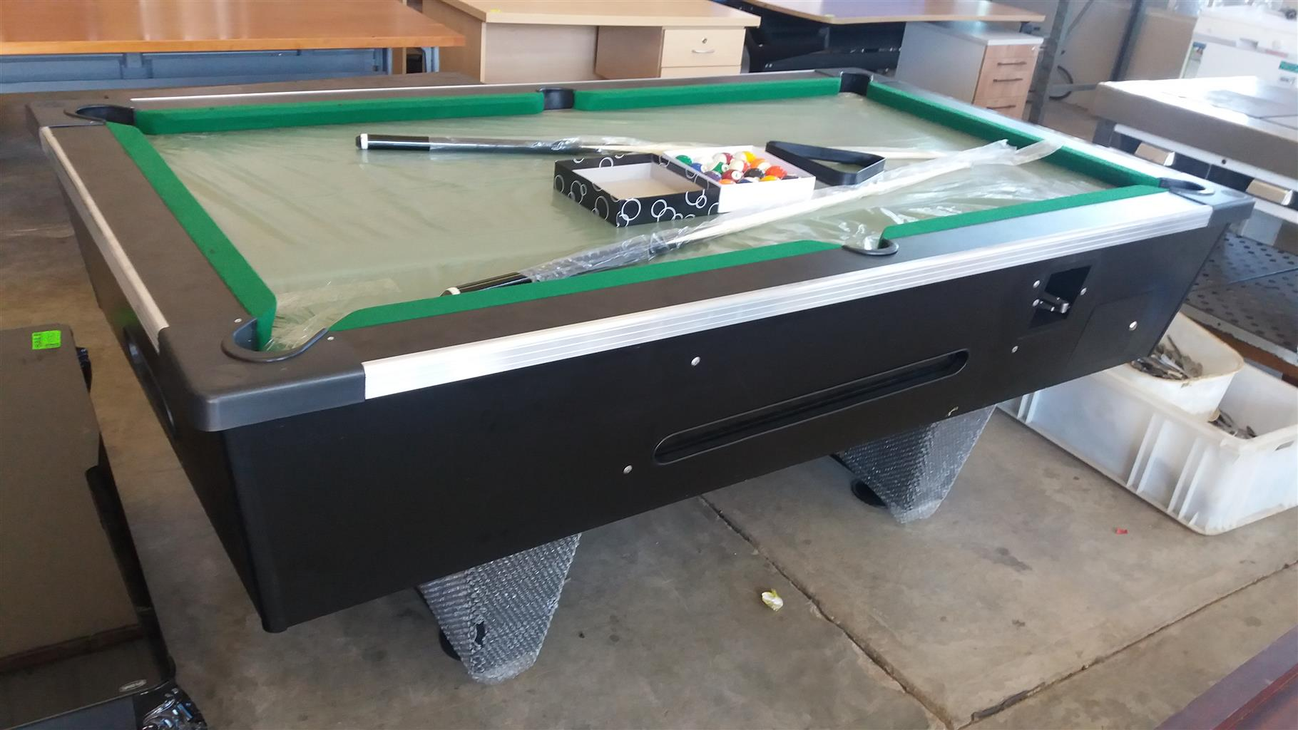 Brand New Slate Top Coin Operated Pool Table Complete With Sticks - Brand new pool table