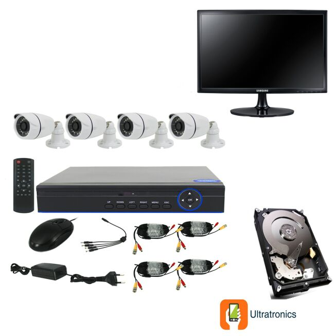 Full HD AHD CCTV Kit - 4 Channel CCTV DIY camera system - 4 Bullet Cameras plus 500 GB Hard Drive and Monitor