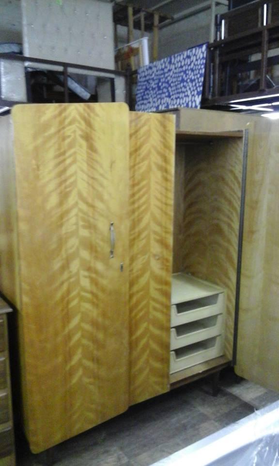 Yellow wooden 2 door closet with storage drawers