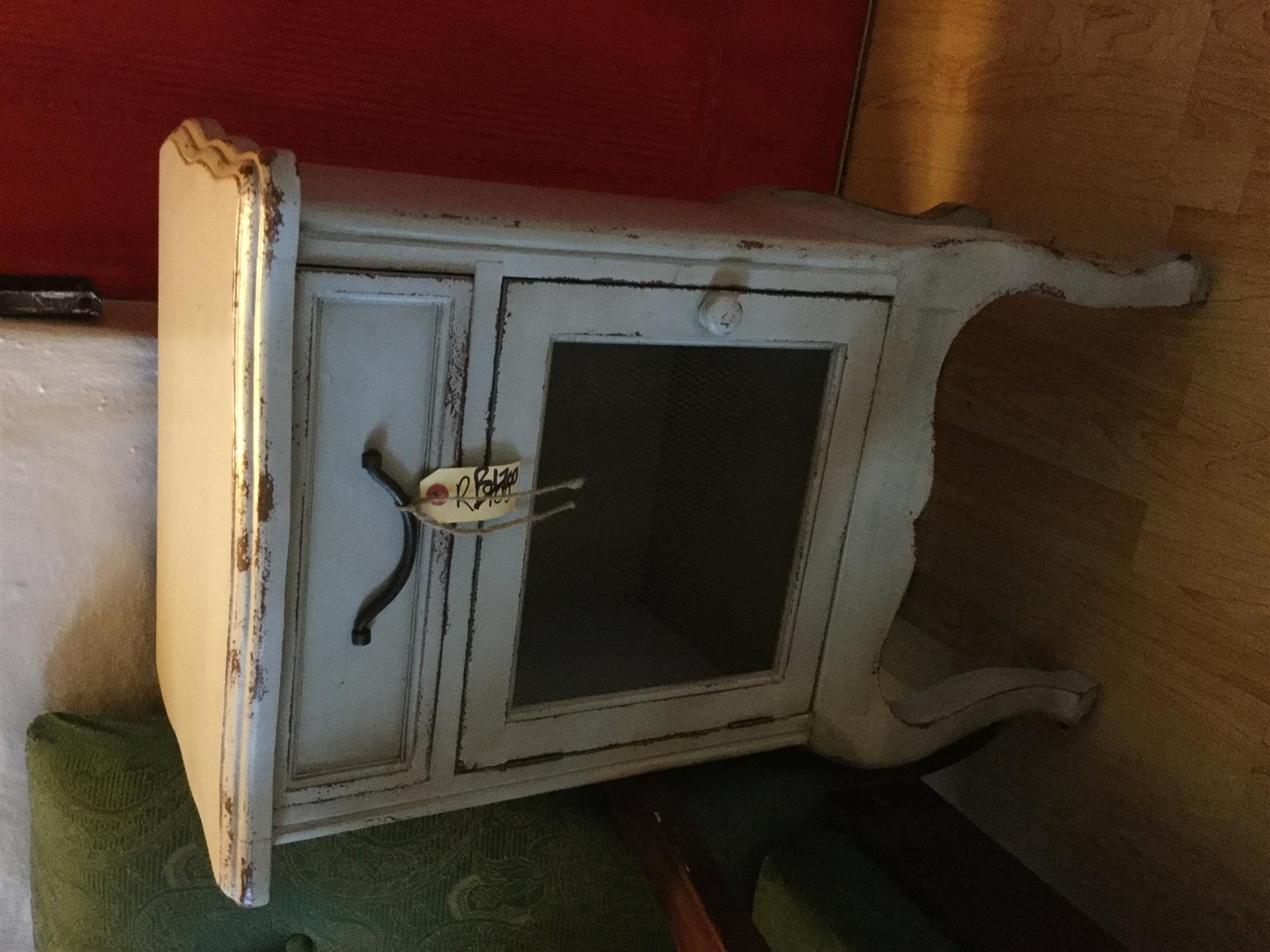 Funky very light cool fog blue French cabinet, heyjudes for something dofferent!