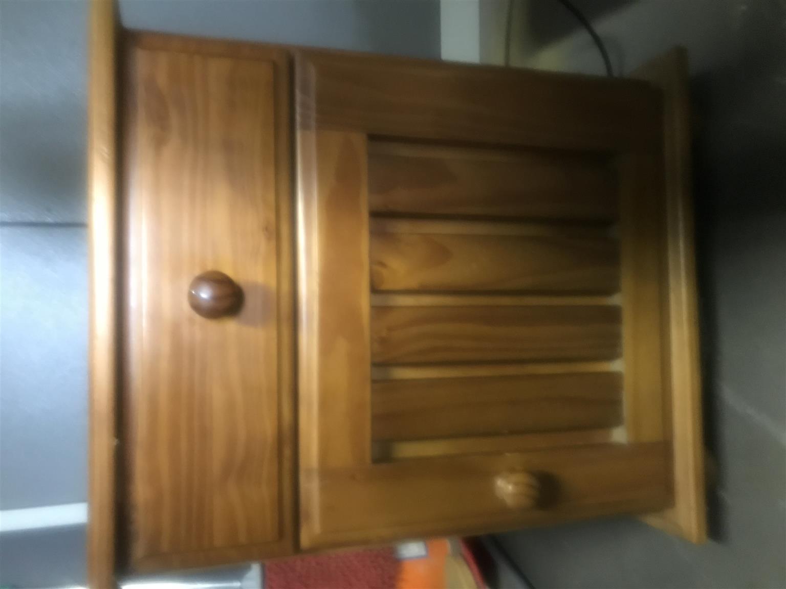 Oregon pine bedside cabinet