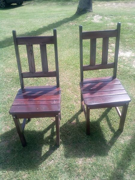 6 x Heavy wood chairs