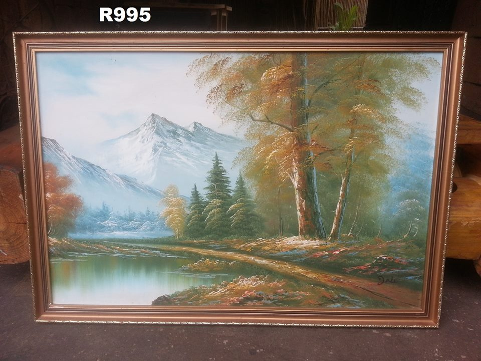 River mountain painting