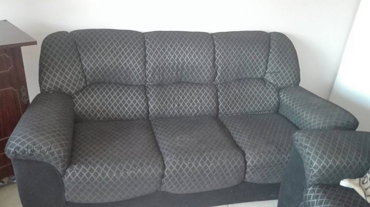 3 Piece Lounge Suite ( Black & Silver)