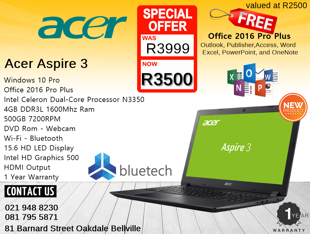 Acer Aspire 3 - Brand New - 12 Months Warranty - 15.6 inch Laptop - Bluetech Computers