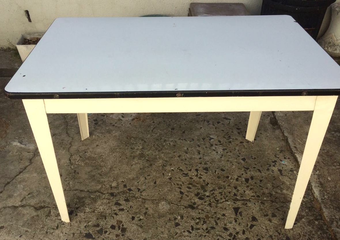 Vintage enamel white table