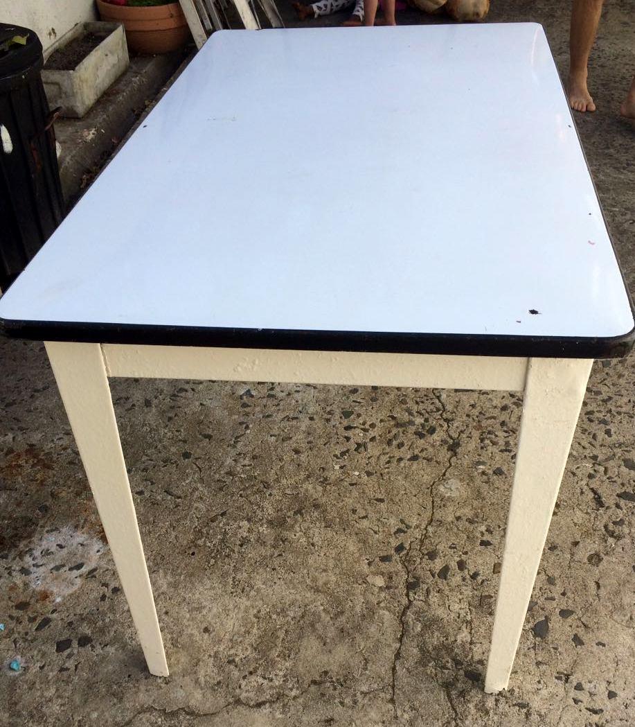 Vintage enamel white table