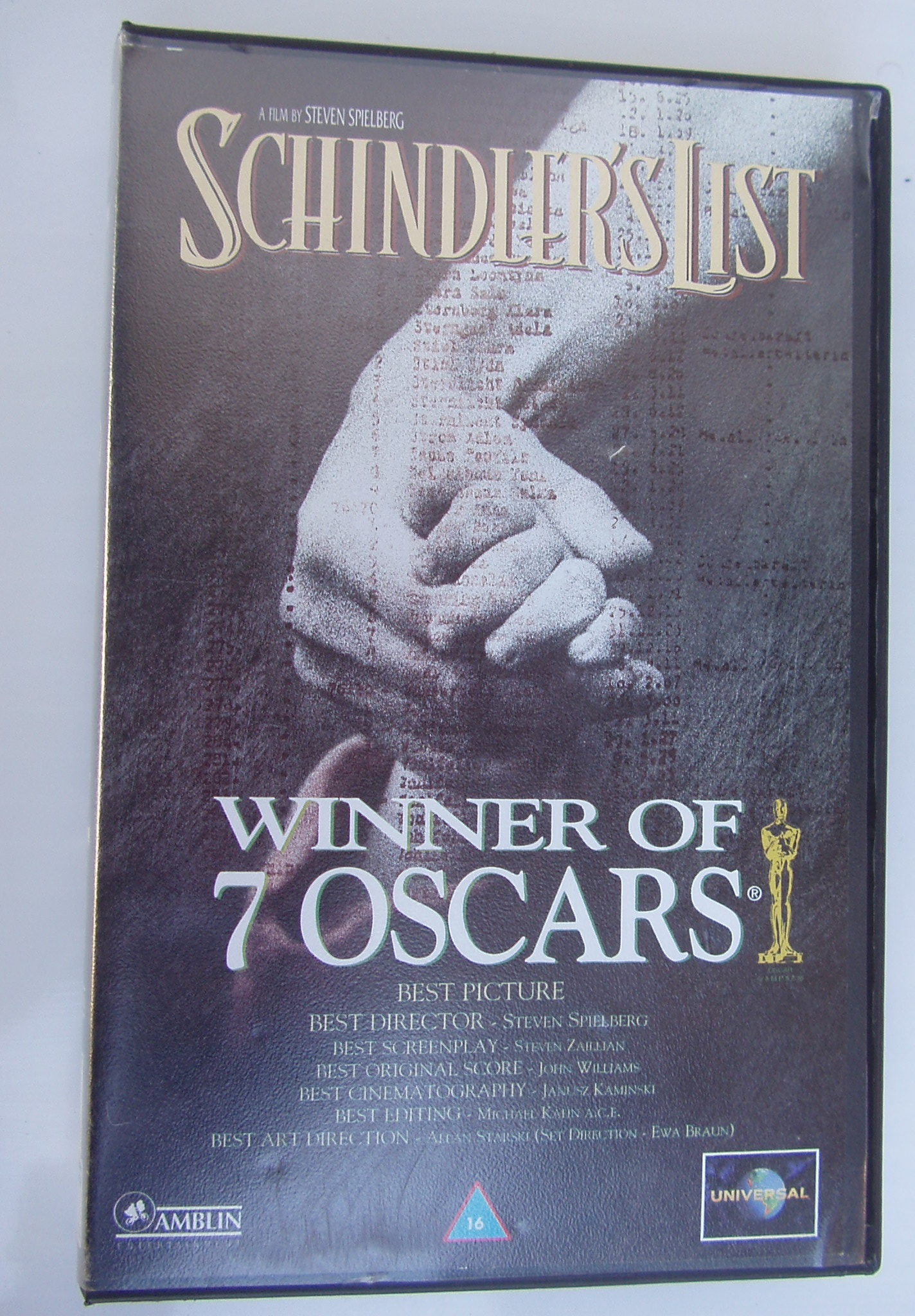 Schlinders List - VCR  Tape - Video