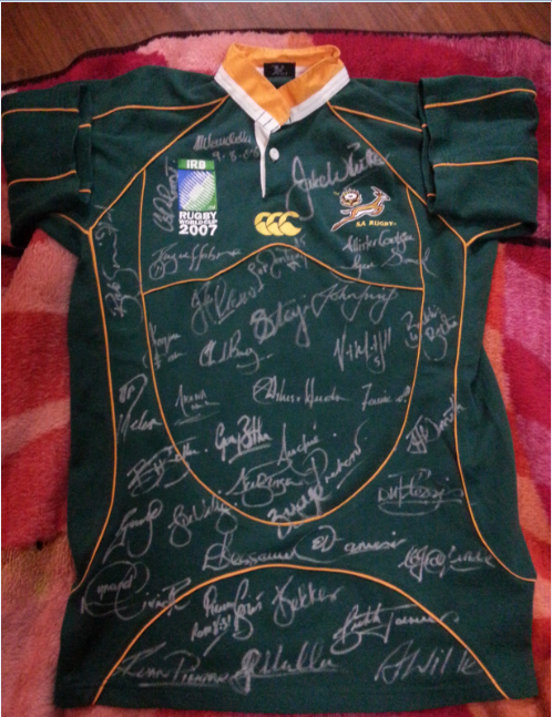 Rugby World Cup 2007 jersey signed by Squad and Nelson Mandela