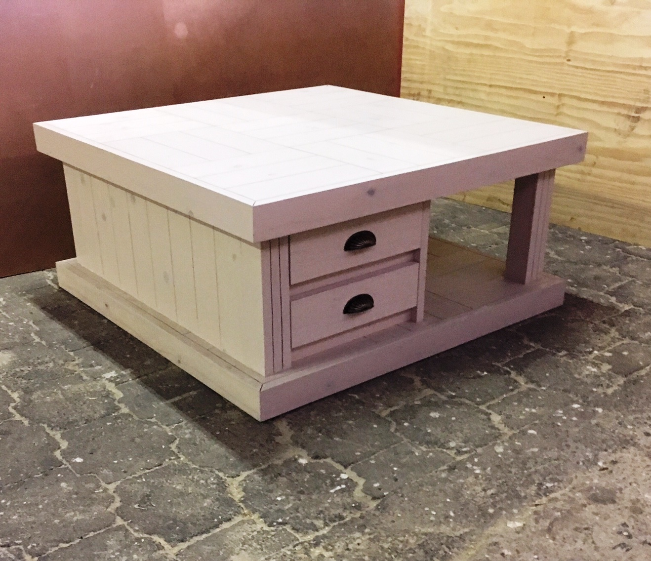 Coffee table Farmhouse series 1100 with 4 drawers Stained