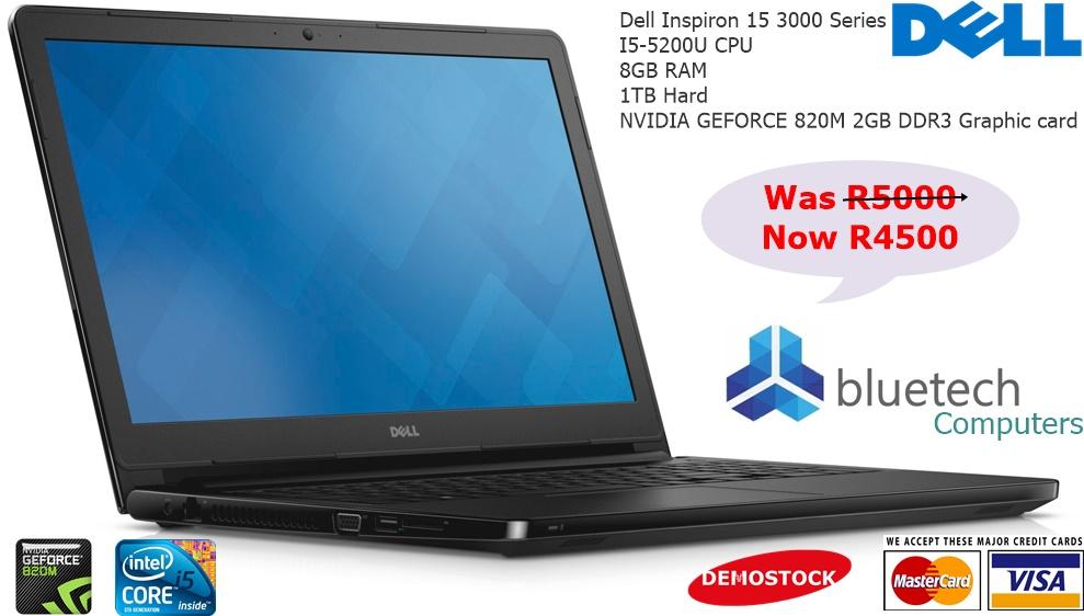 Dell Inspiron 15 3000 Series DEMO Laptop. NVIDIA 820M 2GB DDR3 Graphic card, Core I5 5th gen