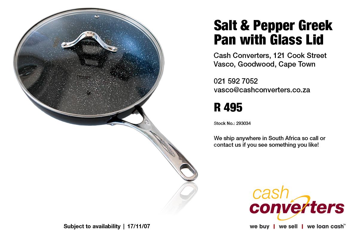 Salt & Pepper Greek Pan with Glass Lid