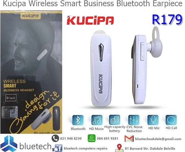 Kucipa Wireless Smart Business Bluetooth Headset (White)