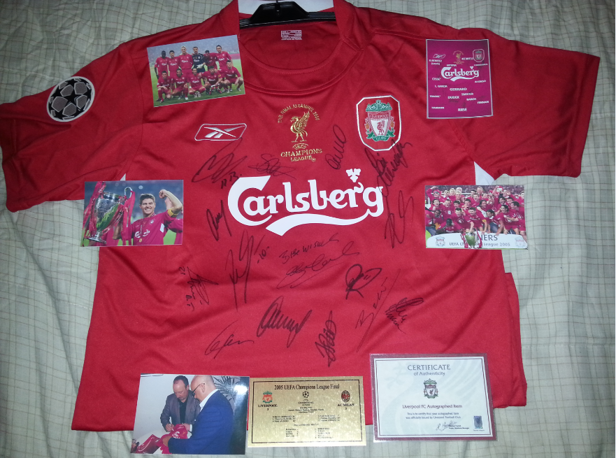 low priced 04242 6c122 LIVERPOOL CHAMPIONS LEAGUE 2005 FINAL JERSEY SIGNED BY TEAM ...