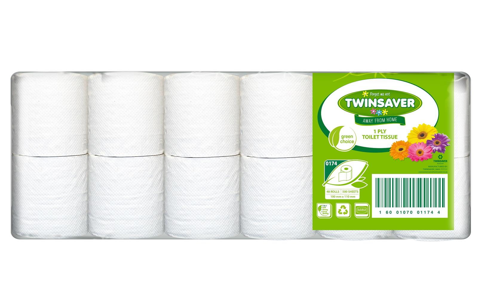 CRAZY TOILET PAPER SPECIALS! Twinsaver 1 ply Toilet paper now only R121.00/ BALE of 48 excl. vat