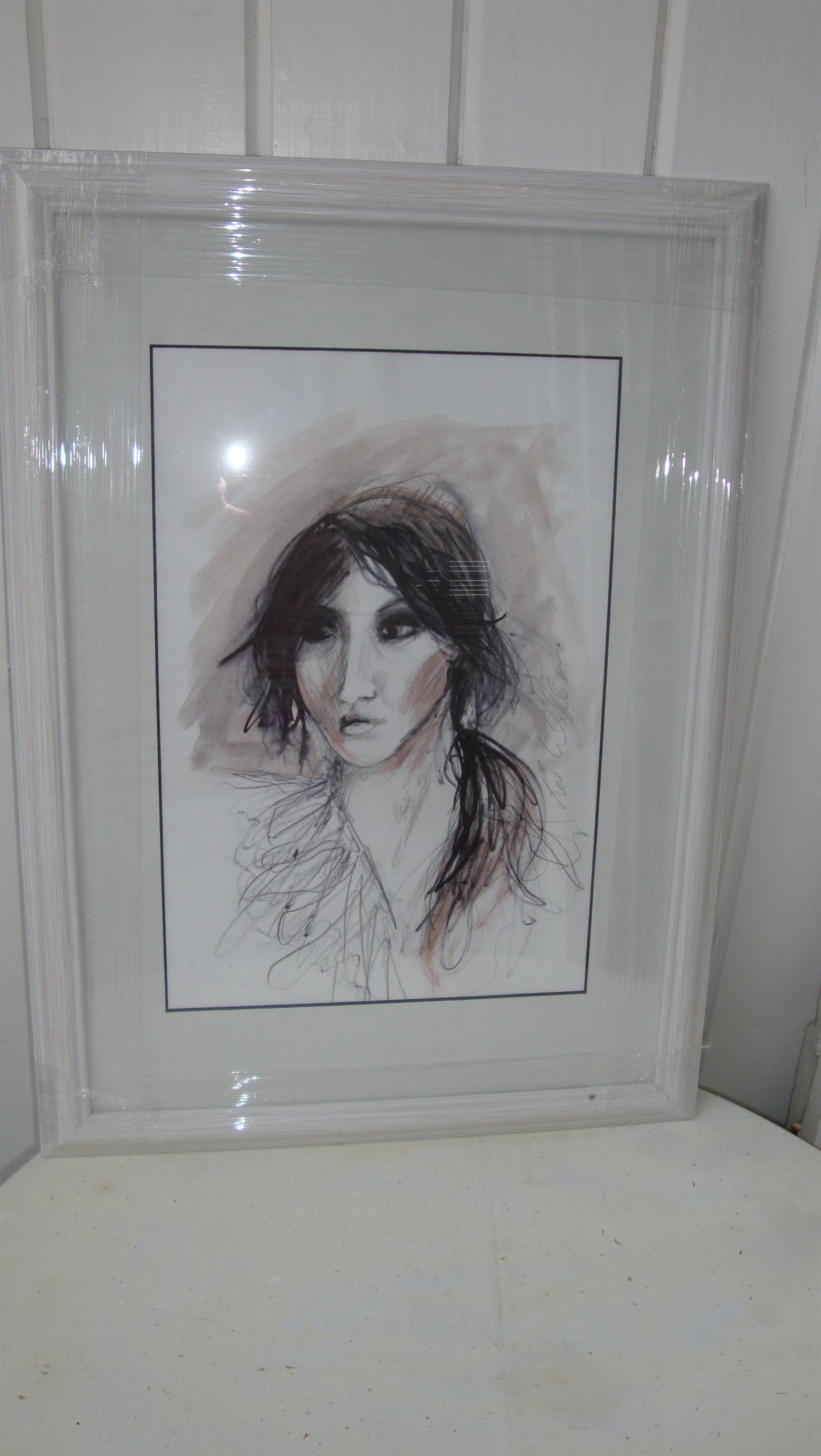 Affordable, original and framed art by Irish artist Ros Webb - girl with long black hair