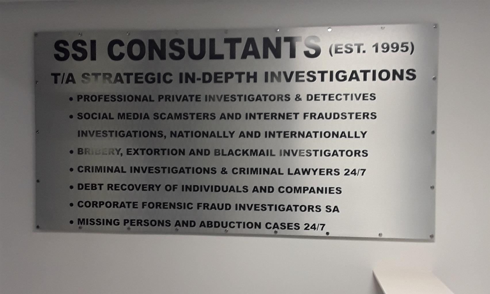 PRIVATE INVESTIGATORS@0780071412 TOP SPECIALISTS DETECTIVES 24/7 IN GAUTENG SSICONSULTANTS TA STRATEGIC IN DEPTH INVESTIGATIONS(EST.1995) HEAD OFFICE 0110261412 WHATSAPP 0780071412.OUR ALL HOURS 0824121149 CREDIT CARDS ACCEPTED