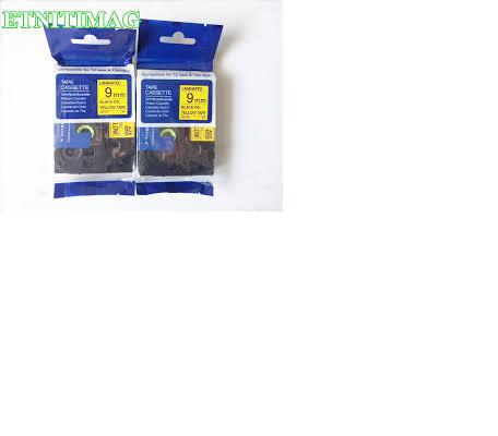 Brother / HellermannTyton AZe label printer tape, 9mm, black on yellow.