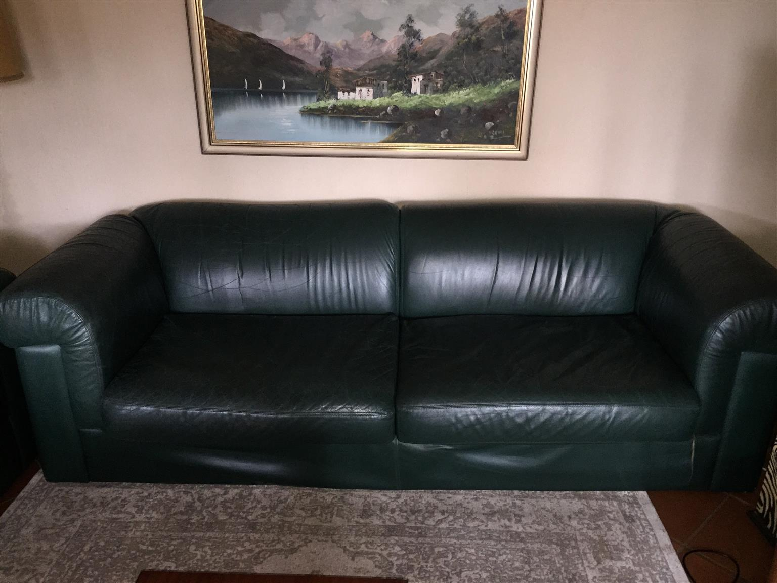 GENUINE LEATHER COUCHES (sold as a set of x2)