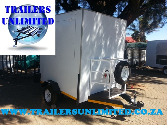 CATERING TRAILERS WHITE INCLUDING EQUIPMENT.