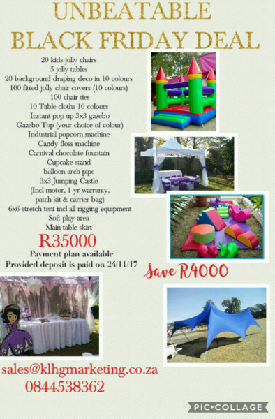 Kids Party Package incl Brand New Jumping Castle, stretch tent & Soft play