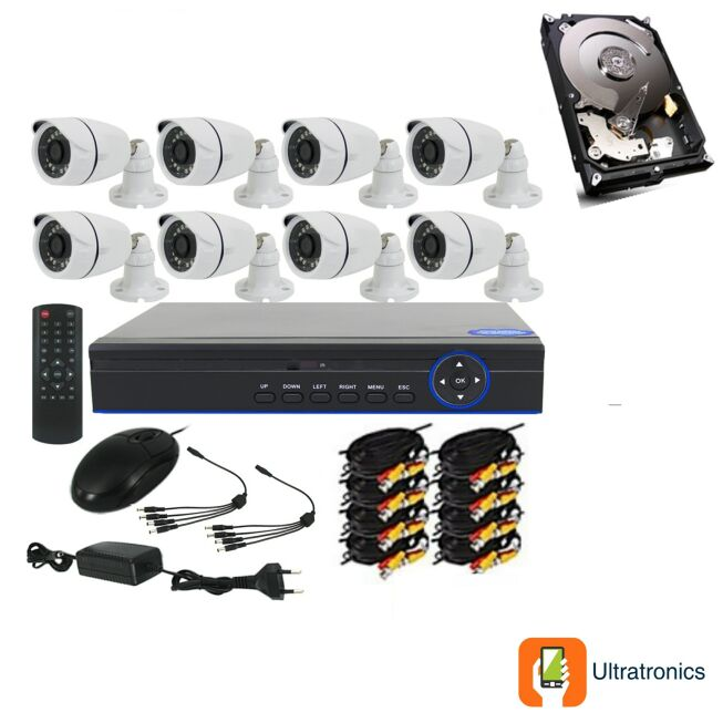 Full HD AHD CCTV Kit - 8 Channel CCTV DIY camera system - 8 Bullet Cameras plus 500 GB Hard Drive