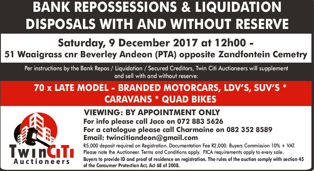 BANK REPOSSESSIONS & LIQUIDATION AUCTION