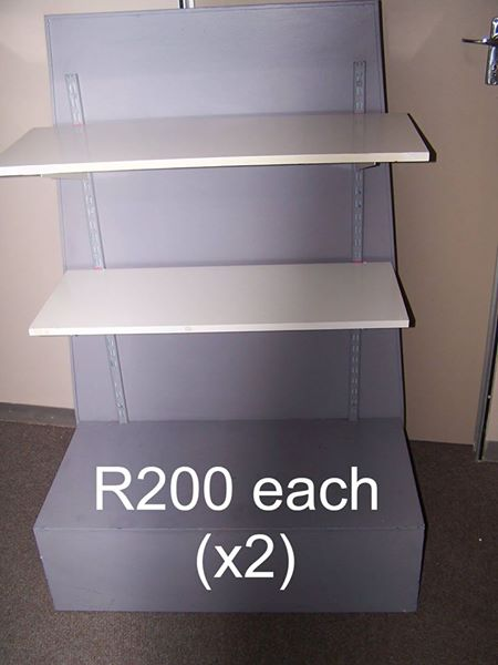 2 x Grey/white wooden shelving units
