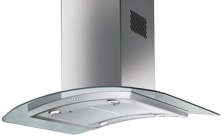 PRICE DROPPED ON SMEG - 90CM GLASS ISLAND EXTRACTOR