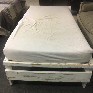 3/4 white washed wooden base and mattress