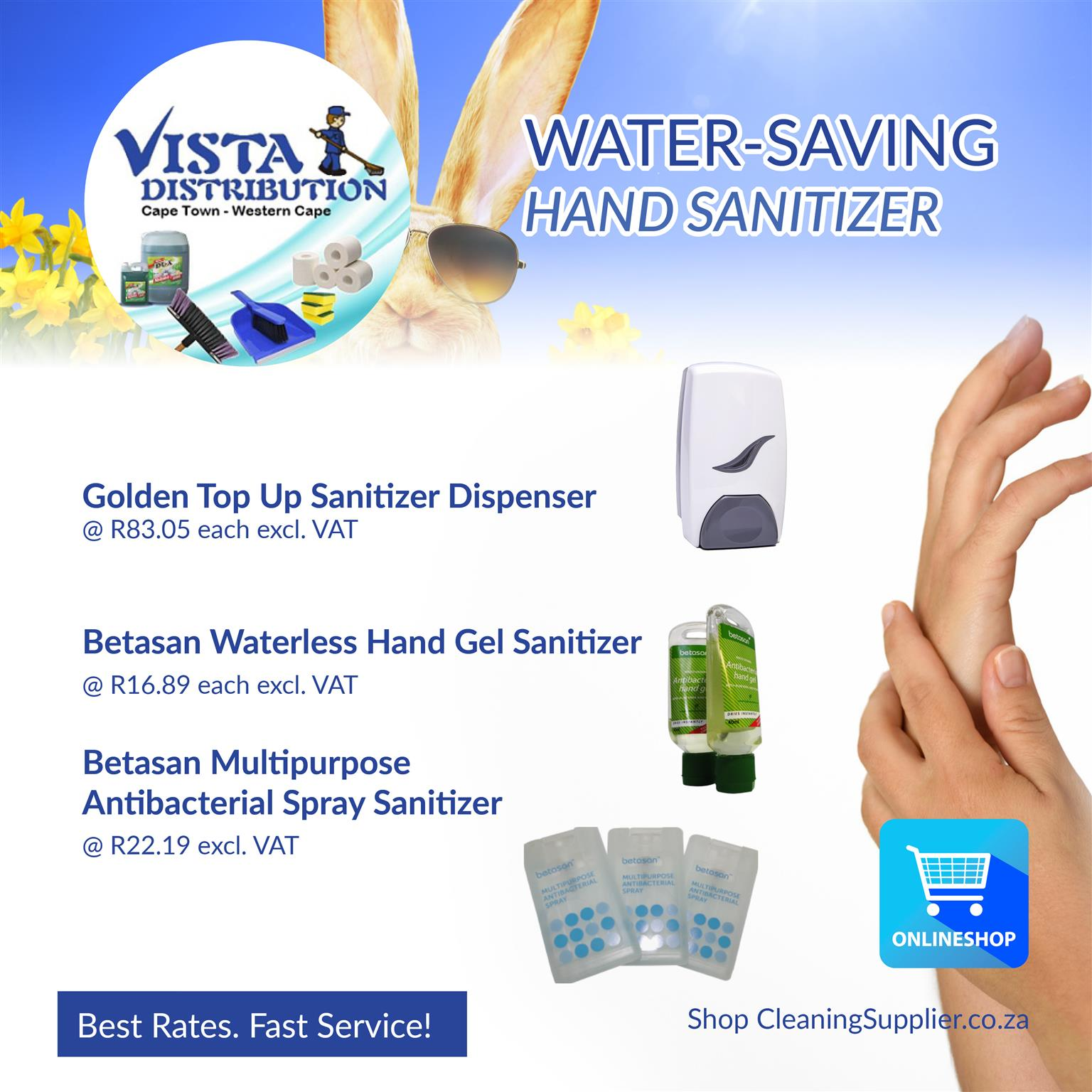 WATER-LESS Hygiene Solutions! Hand Sanitizers, no-flush toilet chemicals, and more!