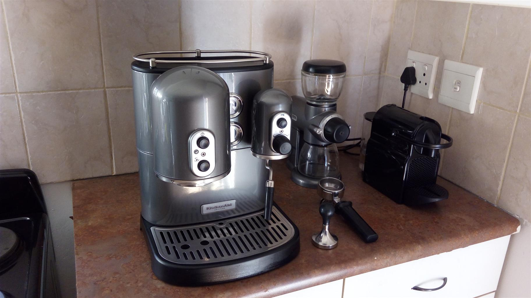 Kitchen Aid espresso maker and coffee grinder