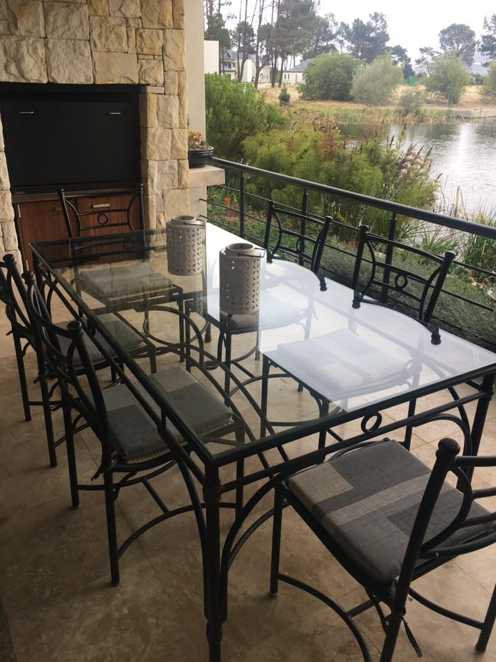 Black aluminium weatherproof patio set with six chairs