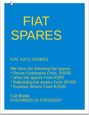 Fiat spares for sale