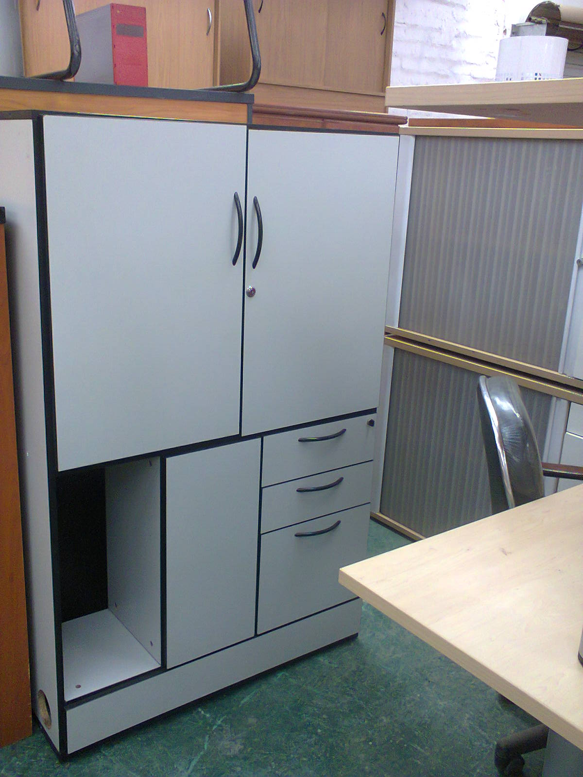 OFFICE OR ROOM DIVIDERS with cupboards, drawers and shelves - used WHITE like new