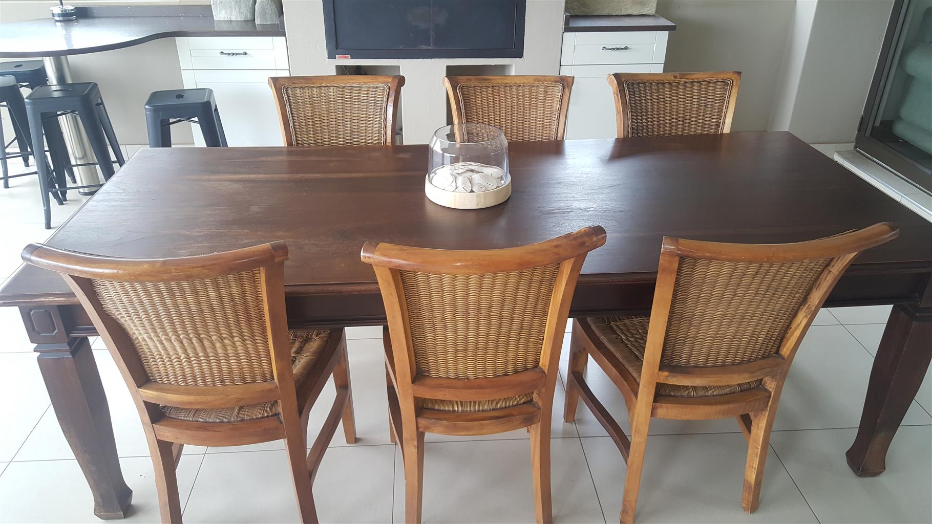Dark cherry wood dining patio table