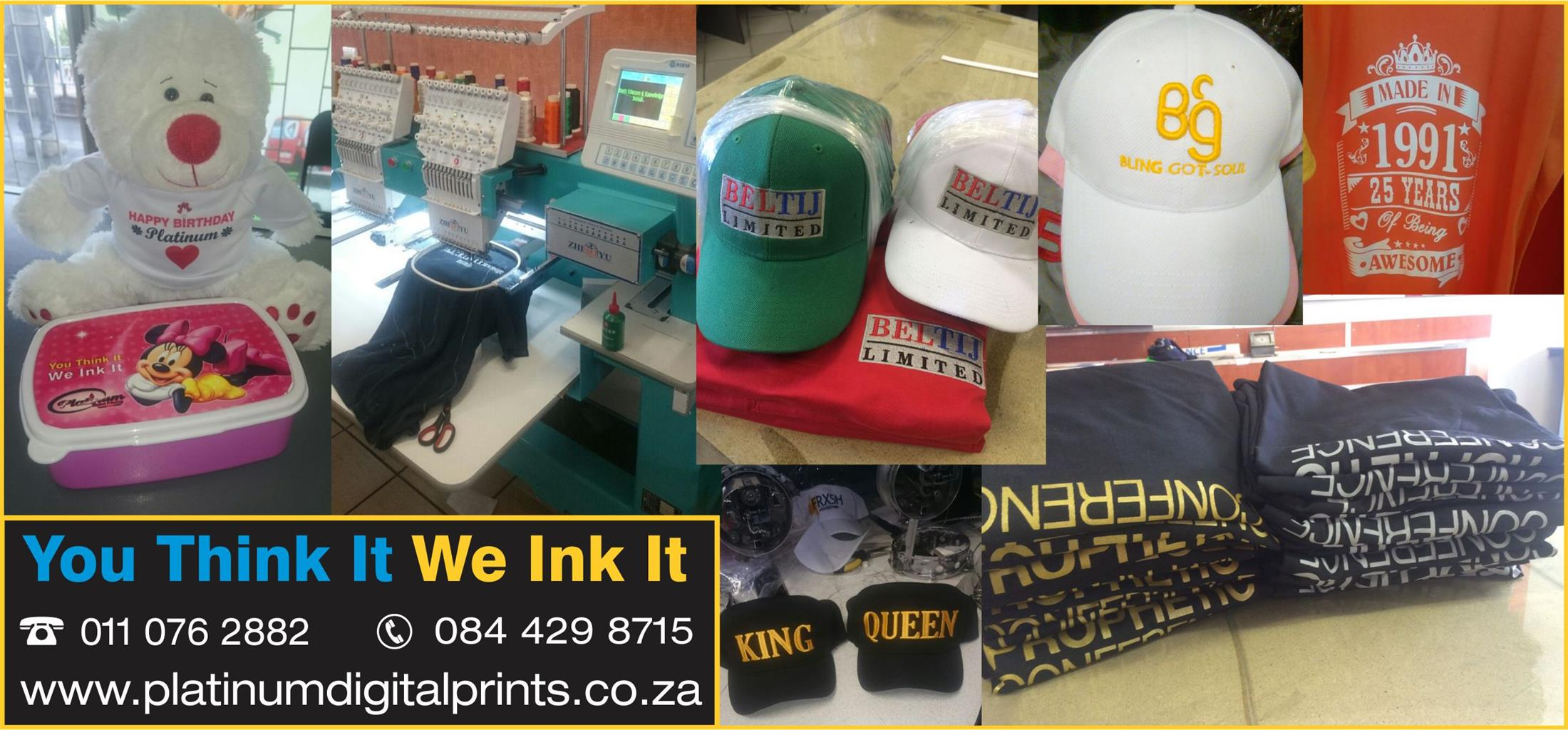same day embroidery and screen printing call 0110762882