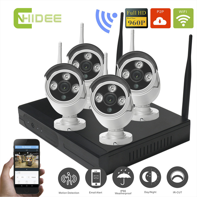 720p Wireless Ip Camera Cctv Security Surveillance System Nvr Kit-4ch