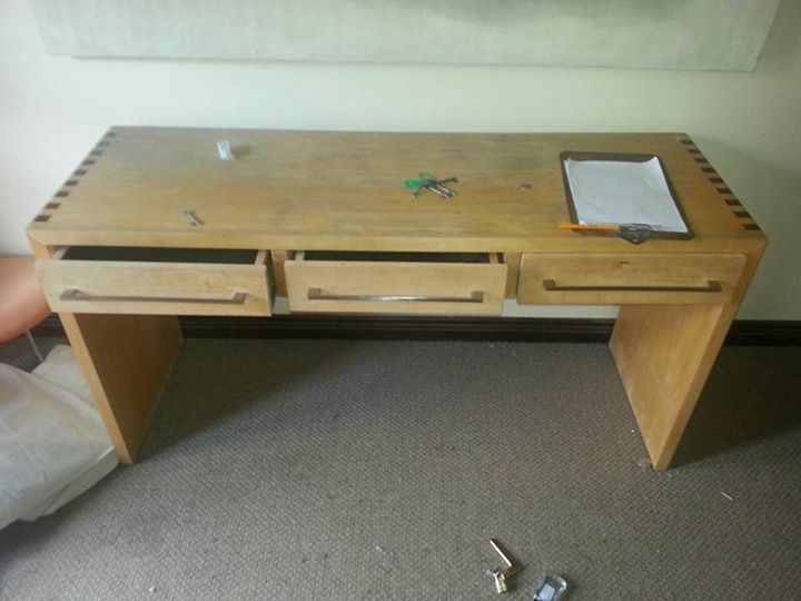 Light wooden 3 drawer desk