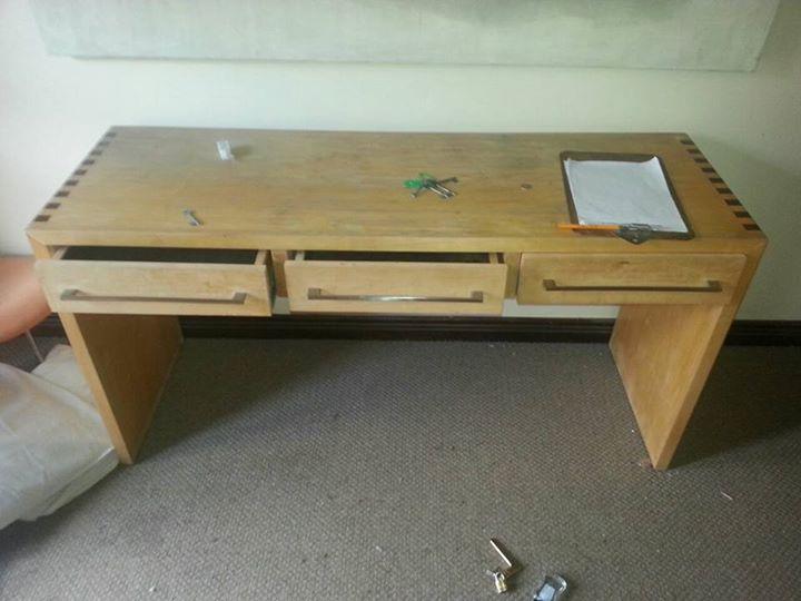Light wooden 3 drawer desk
