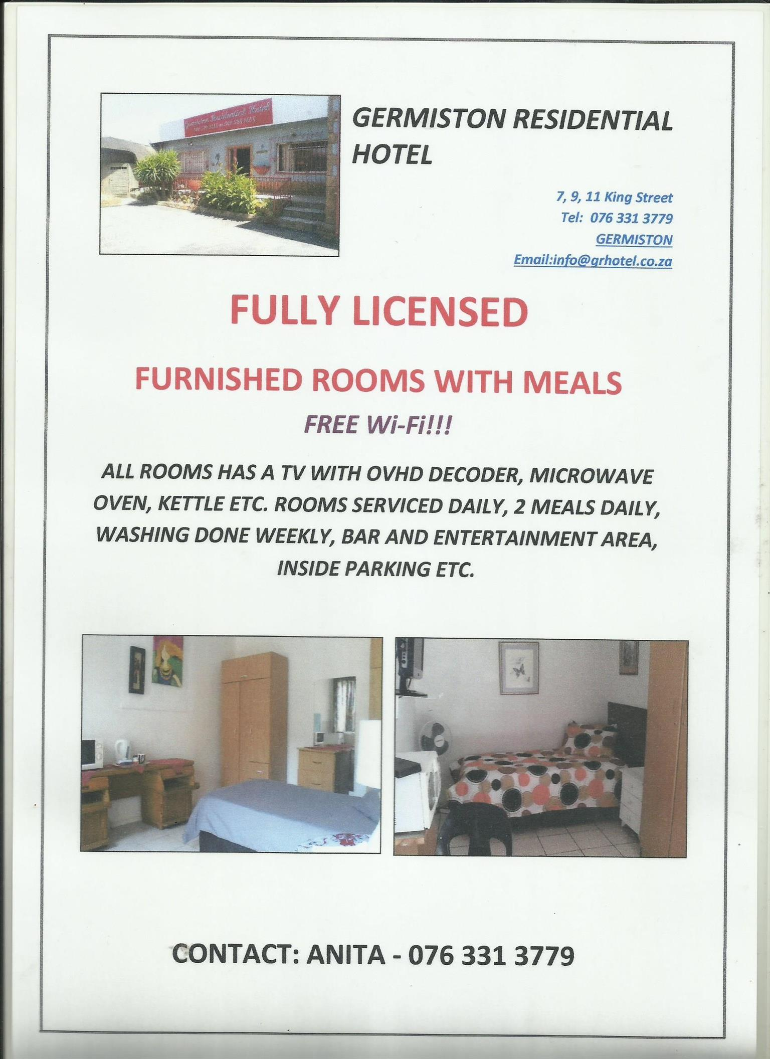 Prices for accommodation for furnished rooms. Bar, Wifi etc.