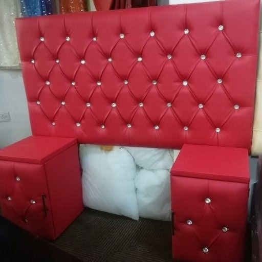 Queen red pleather headboard set with crystal buttons