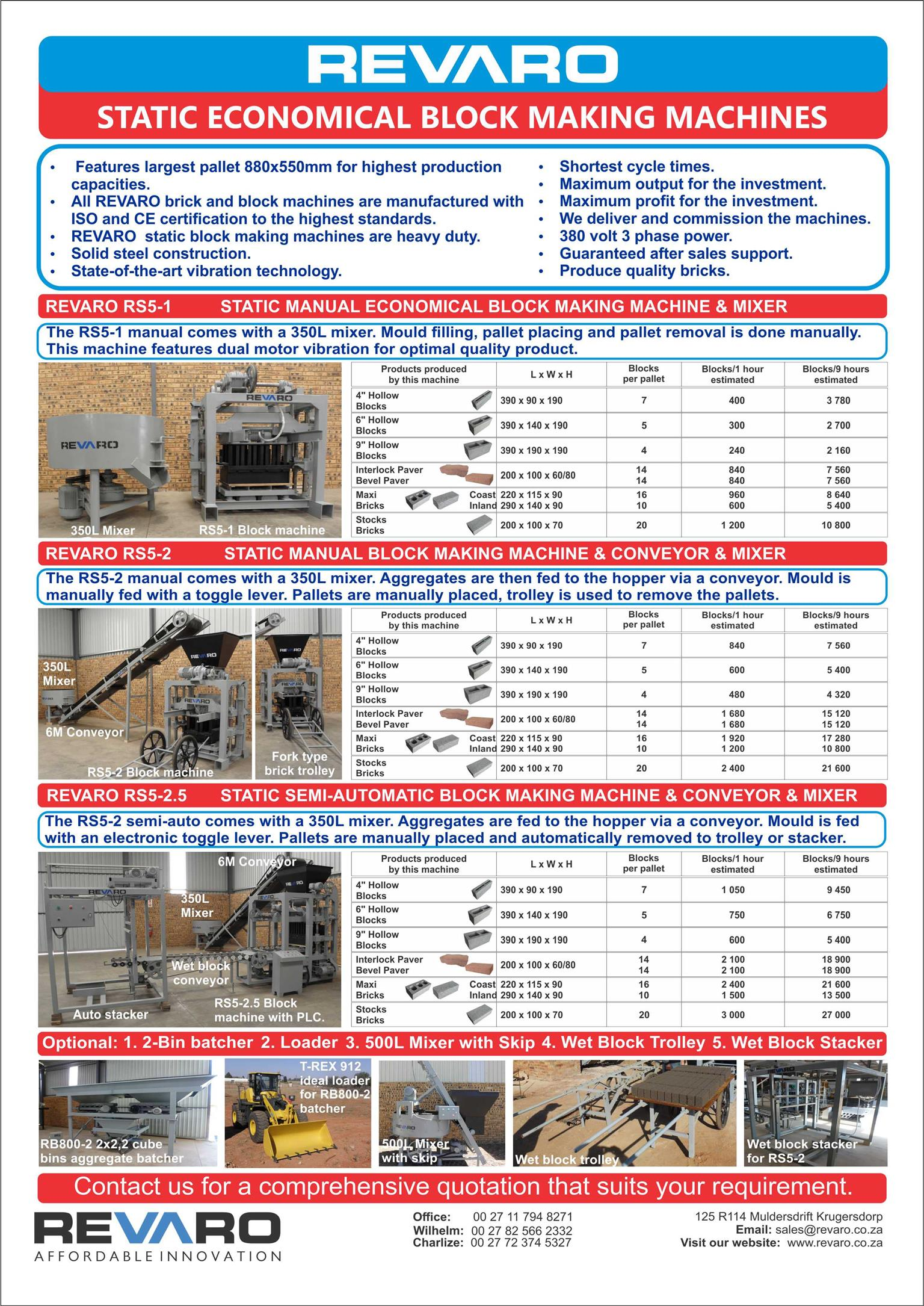 Brick and Block making machine manual static