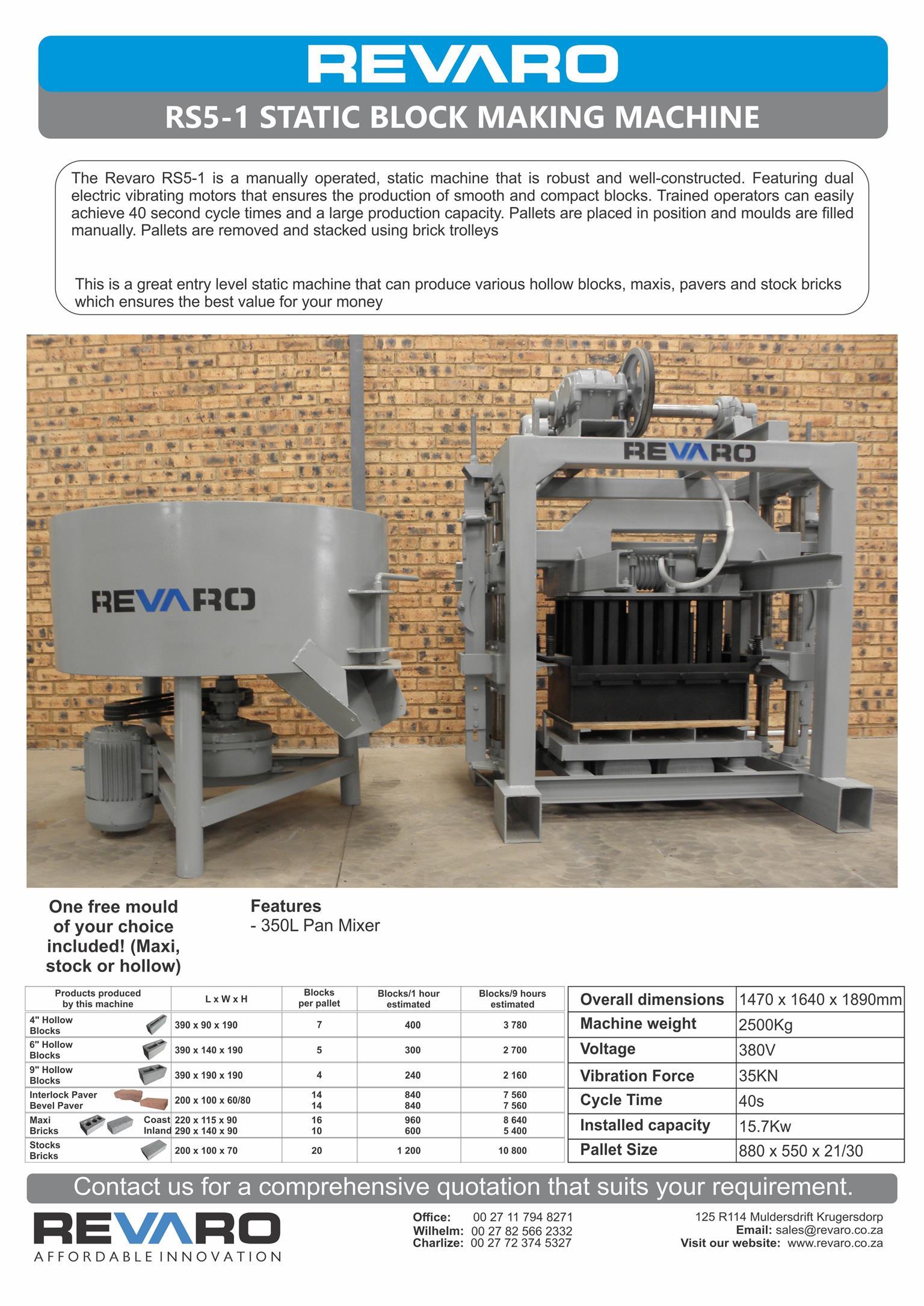 Brick and Block making machine manual static