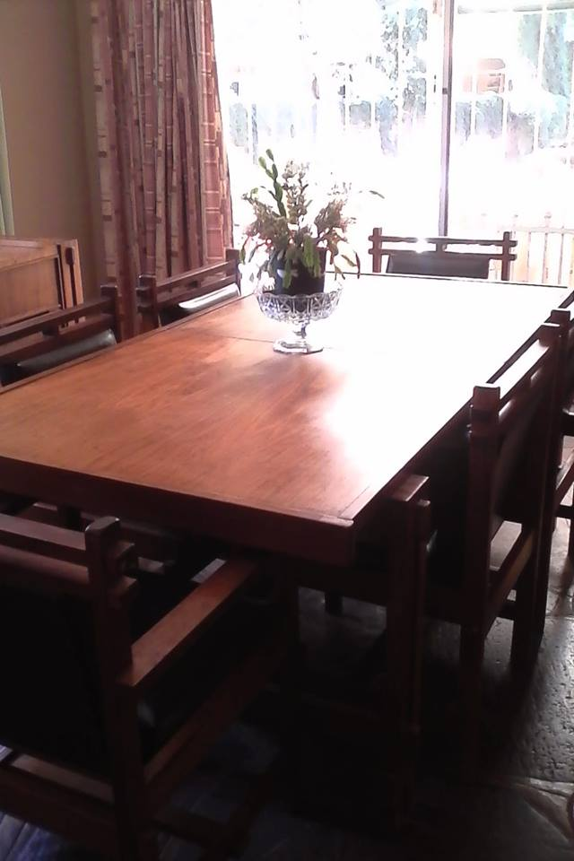 Dining room table and side unit.