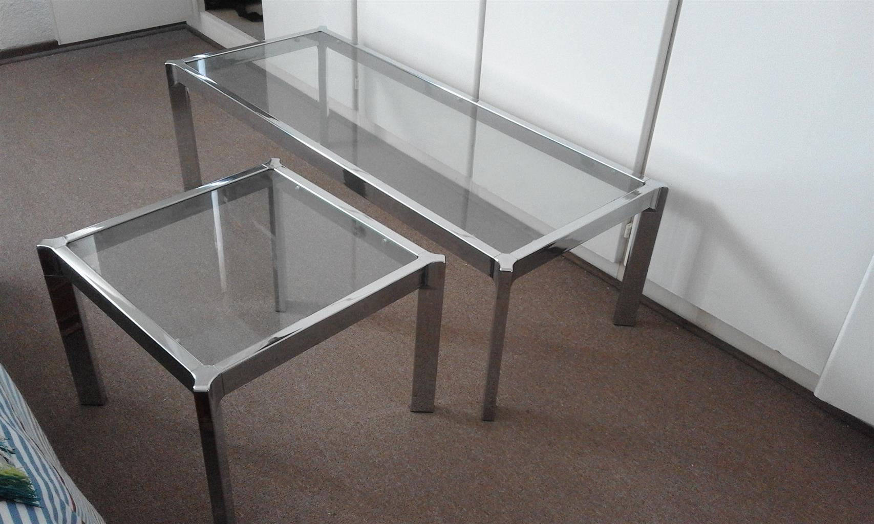 Chrome and glass coffee tables for sale
