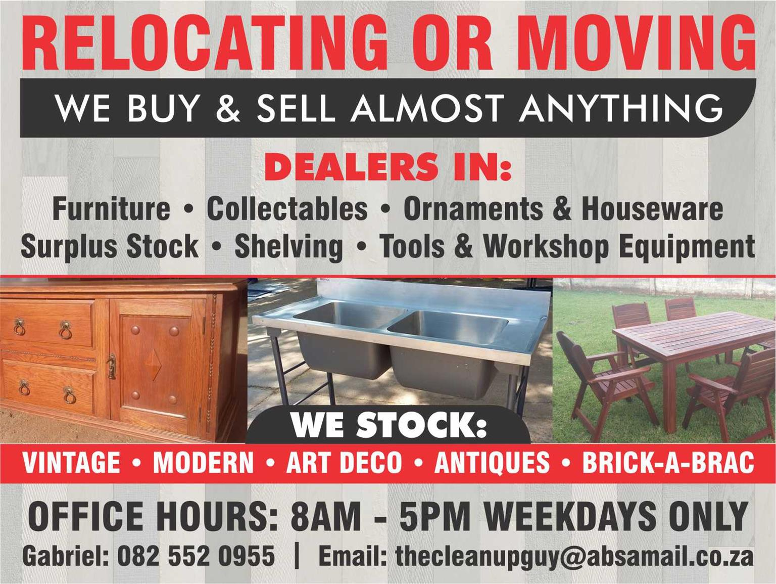 Dealers in: Furniture, Collectibles, Ornaments & House ware, Surplus stock, Shelving, Tools & Workshop Equipment