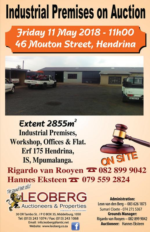 Industrial Premises on Auction - 11 May 2018 at 11h00