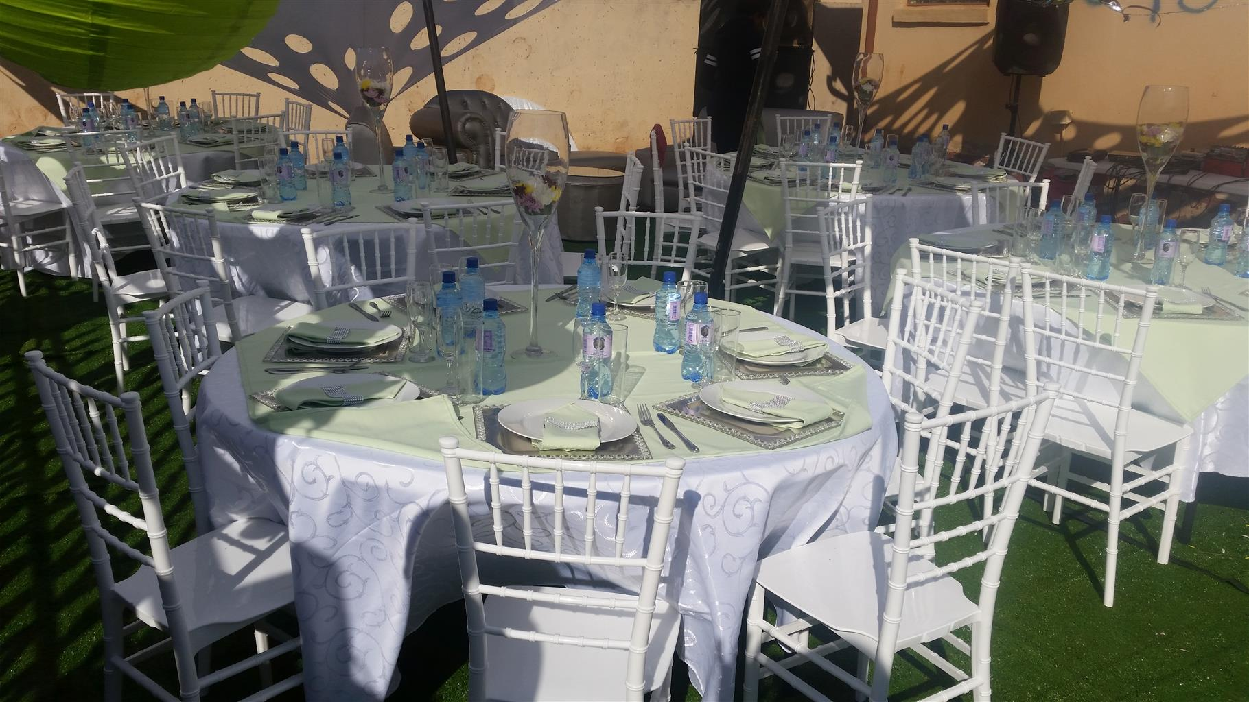 Tiffany chairs, tables and couches for hire R30/chair